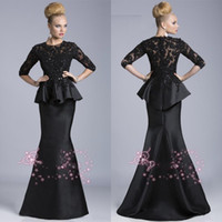 bh design - BH Well Designed Black Sheer Half Sleeves Taffeta Mermaid Evening Dresses Lace Applique Beaded Top Selling Prom Gowns