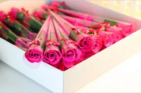 Wholesale one box Magic Bath Rose Soap Flower Wedding Soap Valentine S Day Novelty Gift With Bow Good Packaging L591