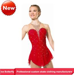 Mariposa de fábrica de hielo vestidos cifra de ventas directas de patinaje en rojo desfile de moda juego de vestir para niños