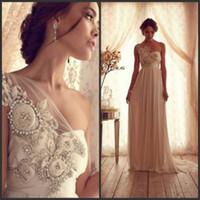 Wholesale Anna Campbell One Shoulder Empire Beaded Bow Ribbon Artificial Flowers Chiffon Garden Beach Sheath Wedding Dresses for Pregnant Woman