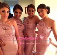 Rosa de Encaje Vestidos de Dama de honor de 2014 de la Sirena de Un Hombro Piso-Longitud Largo de Tafetán de Novia de Fiesta de Rubor Vestidos de Envío Gratuito de vestidos de fiesta