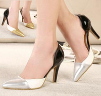 Women Pumps Stiletto Heel 2014 New silver stiletto heel D'Orsay shoes sexy prom shoes 9cm gold party club evening dance shoes ePacket Free Shipping
