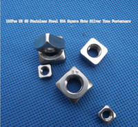 Wholesale 100Pcs M3 GB Stainless Steel Square Nuts Silver Tone Fasterners