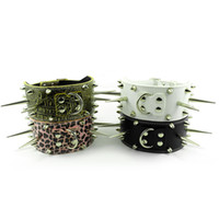 "Chirstmas Collars 4 Colors 4 Colors 3"" Wide Studded & Long Spiked Leather Dog Pet Collars DIY Neck size for 19-24"""