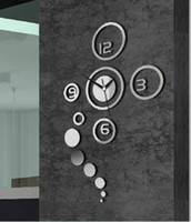 Digital silver  black  Home decoration!Mirror effect ring wall clock Modern design,wall decor,wall decoration living room,home decor,Free shipping!z060