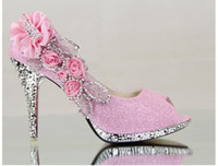 silver wedding shoes - 2014 Newest Gold Silver Wedding Shoes High heeled Applique Beading Crystal Shoes Bridal Shoes EM00542