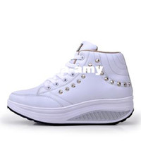 Wholesale high heel sports shoes women s sneakers sport shoes for women lady s leisure rivet swing shoes