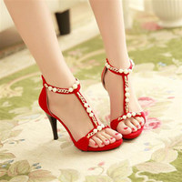 Cheap 2014 Newest Wedding Shoes Red High-heeled Peals Beading Crystal Shoes Party Prom Shoes EM00543
