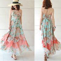 Cheap Free shipping NEW Summer Women Floral V-Neck Beach Boho Maxi Sundress Long Irreguler Dress