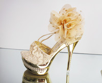 Formal Sandals Stiletto Heel 2014 Luxury Wedding Shoes Gold High-heeled Waterproof Flower Pumps Shoes Party Prom Shoes EM00544
