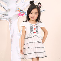 TuTu Summer Pleated 2014 Girls Dresses Tutu Dress Lace children Clothing Baby Dress Short Sleeved O-NECK Girls Party Dresses Kids Clothing wholesale Summer HOT