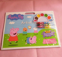 Wholesale EMS New Children Toys Baby Boys Girls Kids Color Filling Painting Book Sticker Crayon Paint Peppa Pig Pink Pigs Sisters Drawing Books F0246
