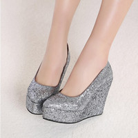 Formal Sandals Wedge Heel 2014 Newest Wedding Shoes Gold Silver Wedges Sequins Party Prom Shoes EM00545