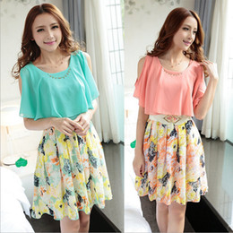 2014 new summer women's short-sleeved floral stitching was thin sweet summer chiffon dress with belt
