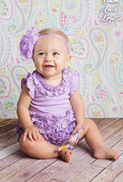 Wholesale 2014 New Baby Girls Purple Pink Flowers Petals Modeling One Piece Rompers Toddler Kids Frill Plain Onesies B3246