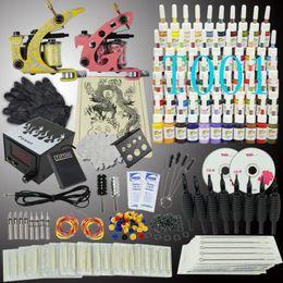 Wholesale EU TAX FREE Tattoo Kit Machine Gun Color Ink Power Supply Needles Set Equipment T001