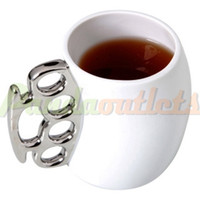 Wholesale Knuckle Duster Mug Fisticup Finger Handle Brass Ring Fist Coffee Milk Cup