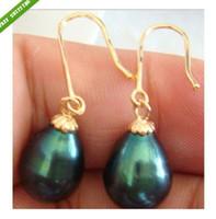 Dangle & Chandelier aa earrings - AA natural mm tahitian BlACK pearl swing earrings K