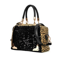 Totes designer leather handbags - Cheap Fashion Casual Women Designer Handbag PU Leather Leopard Print Paillette Sequin Shoulder Messenger Bag H10105