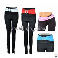 Wholesale 4 color Yoga Sport Gym San Paolo Elastic Women s Long Leggings Full Length W Buckle Patchwork Fabric Belt wrap the waist LEG15