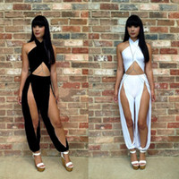 Wholesale Hot Sale Fashion Lady Women s Sexy Suits Jumpsuits Irregular pants Evening Dress Jumpsuit For Club Wear Nightclub party white black blue