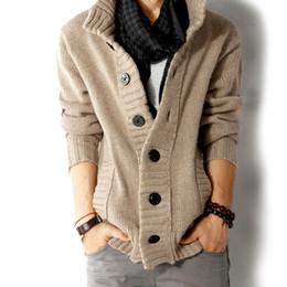 Wholesale Slim Fit Mens Black Cardigan - New!Korean Mens slim fit Polo cardigan sweaters thick button knitted cardigan slim wool Casual men shawl collar cardigan sweater