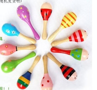 Wholesale 150pcs NEW Wooden Maracas Wood Rattles Kid Musical Party Favor Child Baby Shaker Toy Beach Randomly send