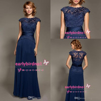 Reference Images High Neck Chiffon 2014 Navy Blue Scoop Neckline Lace Cap Sleeves Mother Of The Bride Dresses Floor Length Chiffon Mommy Dresses Evening Gowns BO2103