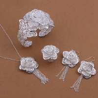 Wholesale silver jewelry set flower bracelet earrings ring necklace hot sale jewelry factory price