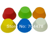 Wholesale 12PCS SET Round Silicone Muffin Cake Cupcake Cup Cake Mould Case Bakeware Maker Mold Tray Baking N08