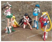 Multicolor PVC Key sailor moon sailor mercurry sailor mars japanese anime sex figure doll toy new year gift toys for children boys 6-12cm 5pcs lot