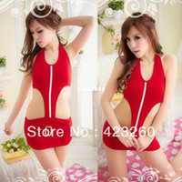 Wholesale Sexy NEW Womens Red Auto Show Model Lingerie Dress Cosplay Night Club Nightdress XL053 Dropshipping