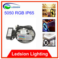 Wholesale 16 ft Waterproof RGB Led Strip Flexible Ribbon leds m M DC V A keys IR Controller Anti Static Bag
