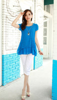 Short Sleeve Chiffon  Wholesale Europe 2014 summer new women fashion Slim plus size long loose hollow tops green blue short sleeve chiffon blouse ewsd4520