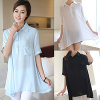 Women 100% Linen Pockets Free Shipping Spring New 2014 M-XXL White Blue Black Irregular Polo Shirts Short Sleeves Women's Shirts MYB99775