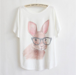 Wholesale New Korean fashion women s summer loose clothing T shirt printing sunglasses Rabbit batwing sleeve tshirt women