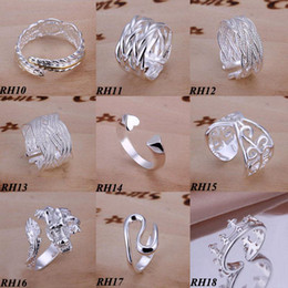 Newest Arrival Free Shipping 30Pcs lot Mixed Styles 925 Sterling Silver Rings Vintage Fashion Rings Multi Size Mixed Hot Sale