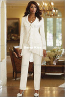Reference Images mother of the bride suits - Custom Made Ivory Chiffon Mother Of the Bride Jacket Pants Suits Long Sleeve Wedding Suit For Mother Chiffon High Quality DK