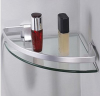Wholesale Space aluminum single glass shelving bathroom corner position shelving Right angle of the arc shape
