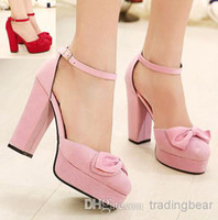 Wholesale 2014 New pink suede shoes with bows sweet sexy ladies women dress shoes high platform ankle strap shoes pumps ePacket