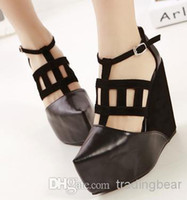 Wholesale 2014 New Sexy Black High Platform Wedges Super Star Love Roman Style T strappy pointed toe shoes ePacket