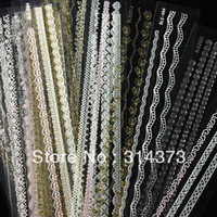 Wholesale 10 Lace Mixed Color Style Decals French DIY Stickers Acrylic Salon UV Gel Tips Nail Art Manicure Decoration Random
