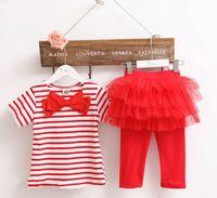 american girl tights - Fedex New Summer Girls Pc Striped Tshirt Set Baby Bow Tops Tshirt baby Tutu Ruffle legging tights pc pc tops pc pants