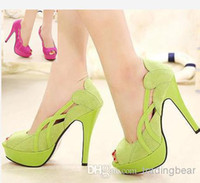 Women Pumps Spring and Fall 2014 New spring lover green stiletto heel peep toe pumps platform shoes sexy high heels ladies prom shoes dress shoes ePacket Free Shipping