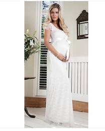 Wholesale 2014 Hot New Europe maternity evening dresses lace formal evening dress for pregnant women white red color