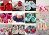 Wholesale Drop shipping Crochet toddler shoes knitted children shoes ballet baby shoes flower walker shoes infant footwear girl shoes pairs