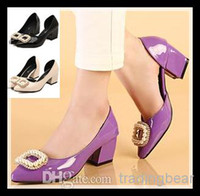 Wholesale 2014 New rhinestone chunk heel pumps cm purple beige black patent pu leather shoes elegant women shoes ePacket