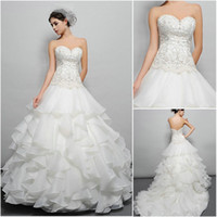 Wholesale 2014 Spring Ivory Gorgeous Ball Gown Wedding Dresses Organza Sweetheart Zipper Back Lace Beaded Beading Bodice Ruffles Eden Bridal BL029