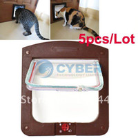 Wholesale Holiday Sale New Way pet Cat Dog Flap Door Lock Safe Lockable Small White Coffee