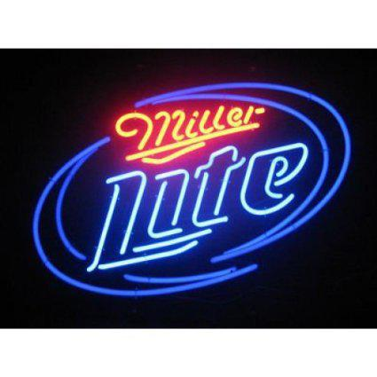 Tube Miller Lite Beer Bar Handcrafted réel verre Neon Light Inscrivez multiples